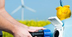 Sparschwein, Elektro-Auto, Ladestation, Windenergie
